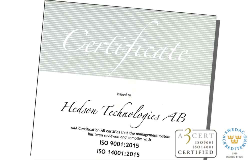 hedson certificate quality
